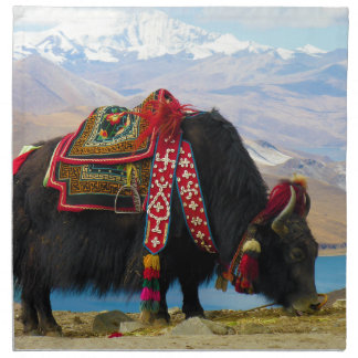 Yak Bos Grunniens near Yamdrok lake Tibet Cloth Napkins