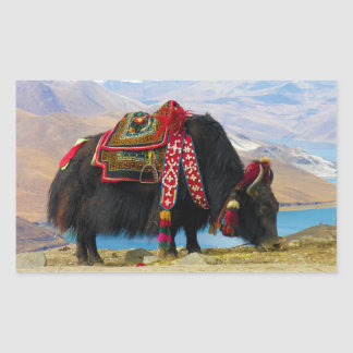 Yak Bos Grunniens near Yamdrok lake Tibet Rectangular Sticker