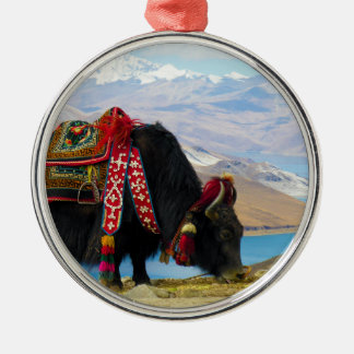 Yak Bos Grunniens near Yamdrok lake Tibet Round Metal Christmas Ornament