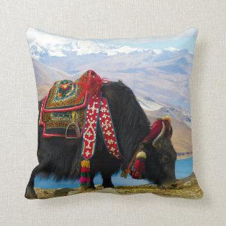 Yak Bos Grunniens near Yamdrok lake Tibet Throw Pillow