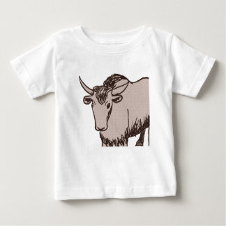 Yak cartoon drawing, brown and sandstone baby T-Shirt