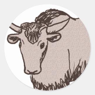 Yak cartoon drawing, brown and sandstone classic round sticker