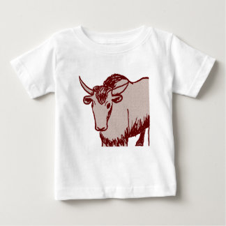Yak cartoon drawing, red and sandstone textured baby T-Shirt