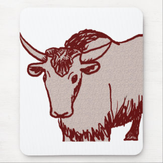 Yak cartoon drawing, red and sandstone textured mouse pad