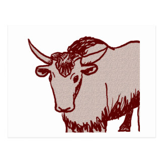 Yak cartoon drawing, red and sandstone textured postcard
