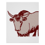 Yak cartoon drawing, red and sandstone textured posters