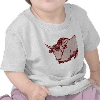 Yak cartoon drawing, red and sandstone textured t-shirts
