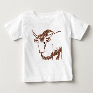 Yak drawing outline, woodgrain texture baby T-Shirt