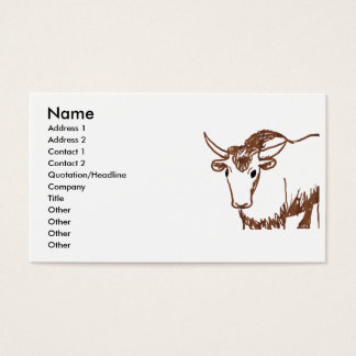 Yak drawing outline, woodgrain texture business card
