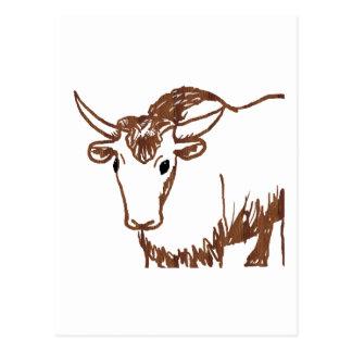 Yak drawing outline, woodgrain texture postcard