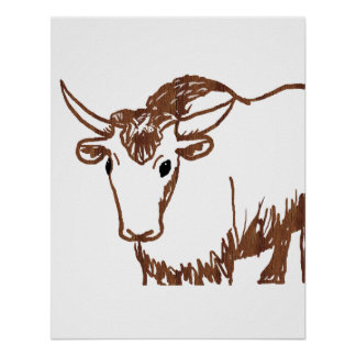 Yak drawing outline, woodgrain texture poster