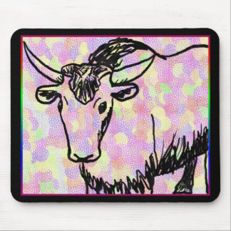 Yak Drawing With Rainbow Patterns Mouse Pad