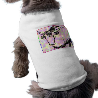 Yak outline in black against a pastel spotty back pet clothes