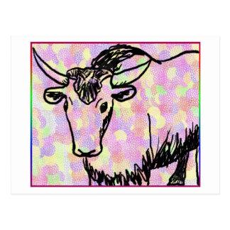 Yak outline in black against a pastel spotty back postcard