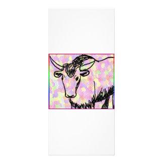 Yak outline in black against a pastel spotty back rack card