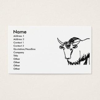 Yak outline in black , cartoon ish bison buffalo business card