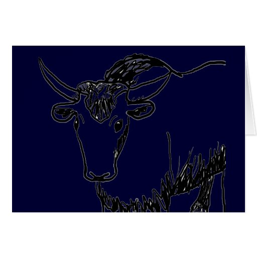 Yak outline in black , cartoon ish bison buffalo greeting card