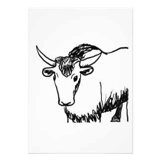 Yak outline in black , cartoon ish bison buffalo invitations