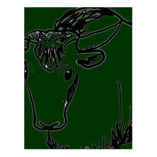 Yak outline in black , cartoon ish bison buffalo postcard