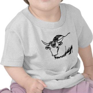 Yak outline in black , cartoon ish bison buffalo tee shirt