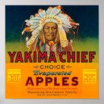 Yakima principal Apple etiqueta - Yakima, WA Póster