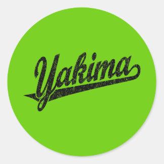 Yakima script logo in black distressed classic round sticker