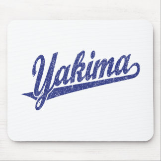 Yakima script logo in blue distressed mouse pad