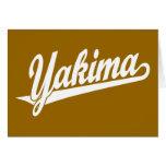 Yakima script logo in white cards