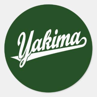Yakima script logo in white classic round sticker
