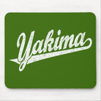 Yakima script logo in white distressed mouse pad