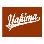 Yakima script logo in white postcards