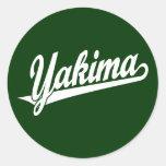 Yakima script logo in white round stickers