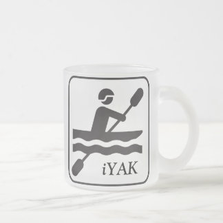 YAKity YAK iYAK BAK, Kayaking Frosted Glass Mug