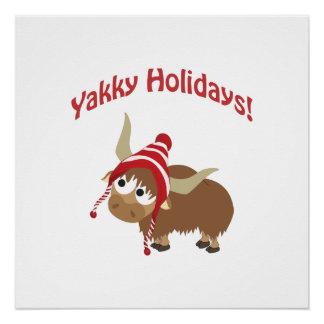 Yakky Holidays! Winter Yak Poster