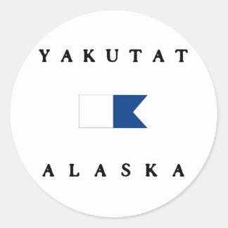 Yakutat Alaska Alpha Dive Flag Classic Round Sticker