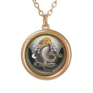 yaldabaoth round pendant necklace