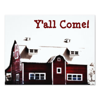 Y'all Come! Hick Country Barn Party Card