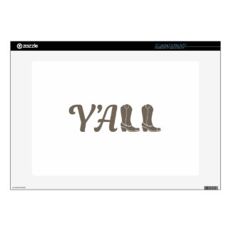 """Yall Cowgirl Boots 15"""" Laptop Skin"""