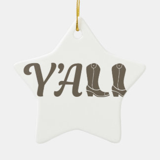 Yall Cowgirl Boots Ceramic Ornament