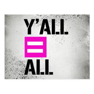 Y'all equals All - - LGBTQ Rights -  Postcard