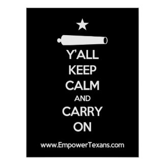 Y'all Keep Calm And Carry On (Black) Posters