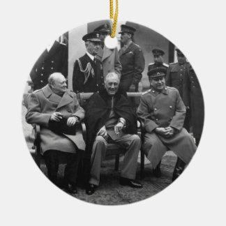 Yalta Conference Roosevelt Stalin Churchill 1945 Ceramic Ornament