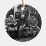 Yalta Conference Roosevelt Stalin Churchill 1945 Christmas Tree Ornaments