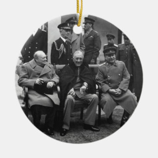 Yalta Conference Roosevelt Stalin Churchill 1945 Double-Sided Ceramic Round Christmas Ornament