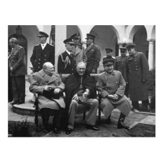 Yalta Conference Roosevelt Stalin Churchill 1945 Postcard