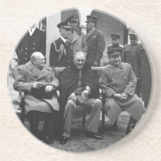 Yalta Conference Roosevelt Stalin Churchill 1945 Sandstone Coaster