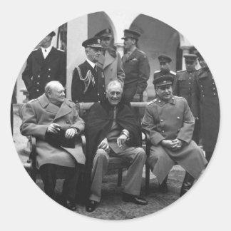 Yalta Conference Roosevelt Stalin Churchill 1945 Classic Round Sticker
