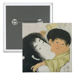 Yama-Uba and Kintoki 2 Inch Square Button