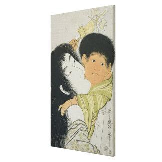 Yama-Uba y Kintoki Impresiones En Lona