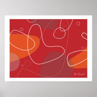 Yamaguchi - poster abstracto de la Atómico-Edad